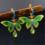 BESTLYBUY Real 925 Sterling <b>Silver</b> Beautiful Butterfly <b>Earrings</b> Women Cloisonne <b>Earrings</b> Long <b>Earrings</b> Free Shipping