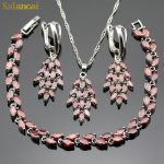 Lan Classic Sliver Planted Jewelry Set Red Leaf shape AAA Zircon Inlay Necklace Pendant Earring <b>Bracelet</b> For Women Free Shipping