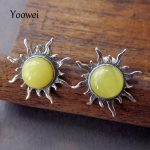 Yoowei Wholesale Amber <b>Earrings</b> Hot Selling Natural Honey Beaded Sun Stud <b>Earring</b> Baltic Amber Women Jewelry Pendientes ambar