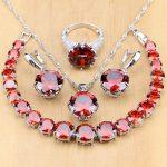 925 <b>Silver</b> Jewelry Sets Red Cubic Zirconia White CZ Beads For Women Wedding Earrings/Pendant/Necklace/Rings/<b>Bracelet</b>