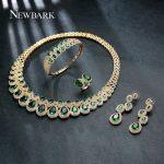 NEWBARK Brand Unique Bridal <b>Wedding</b> 4 Pieces <b>Jewelry</b> Set Top Quality Green Stone AAA CZ Marriage Ring Earring Bracelet Necklace