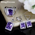 BlingZircons 925 Sterling Silver Women <b>Jewelry</b> Large Romantic Purple Square Cubic Zirconia Ring Earring And Nacklace Set JS048