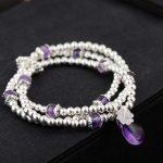 FNJ 925 <b>Silver</b> Wrap Bracelet Beaded Chain Purple Crystal Charm Thai S925 <b>Silver</b> Bracelets for Women <b>Jewelry</b>