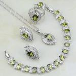 Olive Green CZ White Cubic Zirconia 925 Sterling <b>Silver</b> Jewelry Sets For Women Wedding Earrings/Pendant/Necklace/Rings/<b>Bracelets</b>