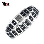 Vnox 22cm Long Bracelet Bangle for Men Adjustable Length Stainless Steel & Silicone Rock <b>Jewelry</b>