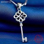 925 Silver Key <b>Necklace</b> Women Luxury Charm 100% Sterling Silver Pendant <b>Necklace</b> High Quality Zircon <b>Jewelry</b>