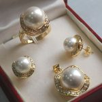 Prett Lovely Women's Wedding luxurious white South Sea Shell Pearl <b>Jewelry</b> Set ( ring pendant earrings )