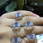 Natural blue tanzanite gem Ring Natural gemstone ring S925 <b>sterling</b> <b>silver</b> trendy Elegant Angel wings women girl gift <b>Jewelry</b>