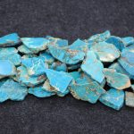 Gems Stone Blue Sea Sediment Imperial Necklace Pendant, Smooth Slacb Slice Loose Beads Imperial Beads For <b>Jewelry</b> <b>Making</b>