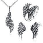 Phoenix Feather Wing 925 Sterling <b>Silver</b> Jewellery Set Necklace <b>Earrings</b> Ring Fashion S925 Jewelry Set