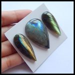 Wholesale 3Pcs Natural Stone Shiny Flashy Labradorite Water Drop Shape Cabochons 35x15x6mm 40x26x8mm 21.05g <b>Fashion</b> DIY <b>Jewelry</b>