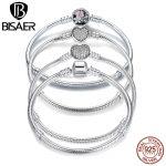 2018 New Collection 100% 925 Sterling Silver Heart Snake Chain Bracelet & Bangle 17CM 18CM 19CM 20CM Fine <b>Jewelry</b> For Women