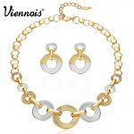 Viennois Gold Color Round <b>Jewelry</b> Sets for Women Silver Color Chain <b>Necklaces</b> Circles Dangle Earrings Female Party <b>Jewelry</b>