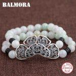 BALMORA 925 <b>Sterling</b> <b>Silver</b> Hollow Flower Bracelets for Women Mother Gift Vintage <b>Jewelry</b> about 17cm Bead Bracelet Bijoux S0534