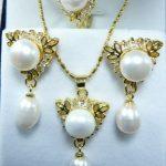 Prett Lovely Women's Wedding wholesale noblest 12mm white shell pearl 18kgp pendant earring and ring(#7.8.9) <b>jewelry</b> set