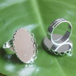 100pcs/Lot Cabochon 18*25mm Oval Lace ring blank with Cameo Tray,Silver Plated Ring setting,<b>Handmade</b> DIY Zakka <b>jewelry</b> Finding
