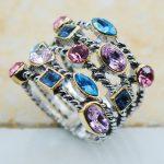 Blue&Pink&Purple Crystal Zircon 925 Sterling Silver Top Quality Fancy <b>Jewelry</b> wedding Ring Size 8 9 10 11 12 F1135