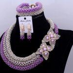 Dudo Jewelry Nigerian Beads Necklace Jewelry Set <b>Silver</b> Purple Beautiful 3 Layers Set of Brand Jewelry Free Shipping 2018 Newset