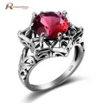 Trendy Luxury Created Ruby Love Ring Women 925 Sterling Silver Hollow Cocktail Ring <b>Handmade</b> Wedding Female Bague Party <b>Jewelry</b>
