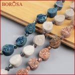 BOROSA <b>Handmade</b> 16inch Teardrop Rainbow Natural Crystal Titanium Geode Druzy Loose Bead Stone Druzy Drusy Fashion <b>Jewelry</b> LS009