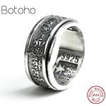 Pure100% 925sterling silver cut-off <b>handmade</b> 925 sterling silver vintage ring men's six-character ring silver 925 <b>jewelry</b> charms