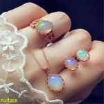KJJEAXCMY boutique jewels S925 <b>silver</b> with natural opal jewelry set necklace ring <b>earrings</b> three pieces female set