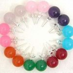 Charming Multicolor chalcedony jades stone 10mm Round loose beads <b>making</b> Woman Earring 8sets BV114