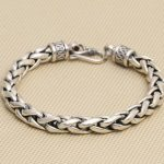 Solid <b>Silver</b> 925 Thick Chain <b>Bracelet</b> Men Simple Design 100% Real 925 Sterling <b>Silver</b> Vintage Cool Mens Jewelry Free Box Gift