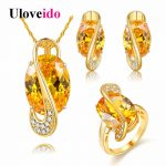 Uloveido Gold Color Yellow <b>Jewelry</b> Set Wedding Decorations Parure Bijoux Femme Ring Necklace and Earrings <b>Jewelry</b> Sets Y183