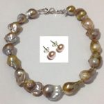 Large shaped natural baroque pearl necklace nude color 1pc High-grade female short paragrap <b>earring</b> gift
