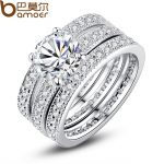 BAMOER Luxury Brand <b>Fashion</b> Silver Color Bridal Set Ring for Women with Paved Micro Zircon Crystal Wedding <b>Jewelry</b> YIR031
