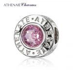 ATHENAIE 925 Sterling <b>Silver</b> CZ Pink Bead DIY Chams Fit All European <b>Bracelet</b> and Necklace For Women Fashion Jewelry