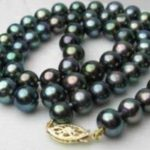 Rare!8-9MM black Akoya Cultured Pearl Necklace Rope Chain Beads <b>Jewelry</b> <b>Making</b> Natural Stone 18inch(Minimum Order1)