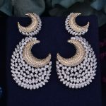 GODKI 60mm Luxury Trendy Moon Feather Cubic Zirconia Naija <b>Wedding</b> Party Earring Fashion <b>Jewelry</b> for Women