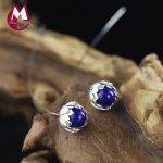 100% 925 Sterling <b>Silver</b> <b>Earrings</b> Women Thailand Handmade Lotus Flower <b>Earrings</b> Natural Lapis Gemstone Drop <b>Earring</b> Jewelry SE33