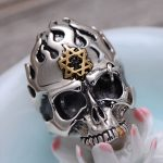MetJakt Punk Rock Skull Rings with Flame Hexagram Solid 925 <b>Sterling</b> <b>Silver</b> Rings for Cool Men Vintage Personalised <b>Jewelry</b>