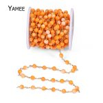 5 Meters Round Shell Rosary Beads Chain Handmade Pure Copper Wire Orange Stones For <b>Jewelry</b> Finding DIY Charms <b>Necklace</b> Bracelet