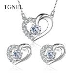TGNEL S925 Sterling <b>Silver</b> Jewelry Set Pendants Necklace Stud <b>Earrings</b> AAA+ CZ Stone 100% <b>Silver</b> for Women Girl Engagement