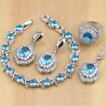 925 <b>Silver</b> Jewelry Blue Cubic Zirconia White CZ Jewelry Set Women Party Earrings/Pendant/Necklace/Rings/<b>Bracelet</b>