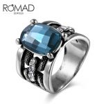ROMAD <b>Antique</b> Rings Silver Oxide Silver Color Mysterious Blue Zircon Rings <b>Jewelry</b> for Women New European and American Fashion