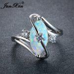JUNXIN Unique Women Blue/White Fire Opal Stone Ring 925 Silver Color Luxury AAA Zircon Wedding <b>Jewelry</b> Promise Engagement Rings