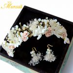 Sweet <b>Handmade</b> Dry Flower Headband for Women Crystal Floral Crown and Earring Girls Brithday Party Prom Hair <b>Jewelry</b> Accessories