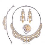 Luxury Wedding Bridal <b>Jewelry</b> Sets For Women Wedding Three Colors Zircons Rhinestones Choker Earring Ring Bracelet Set Aretes