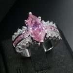 choucong Classic <b>Jewelry</b> Marquise Cut Pink stone 5A Zircon stone 925 silver <b>Wedding</b> Band Ring Set Sz 5-11 Gift