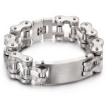 <b>Supply</b> <b>jewelry</b> wholesale Silver motorcycle bracelet cool men titanium steel bicycle bracelet