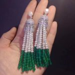 one pair white freshwater pearl <b>earrings</b> zircon green agate round 3-4mm wholesale beads FPPJ nature