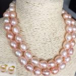 double strands 12-13mm south sea lavender baroque pearl necklace <b>earring</b>