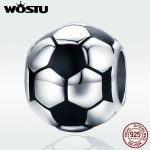 WOSTU New Trendy 925 Sterling Silver I Love Football, Black Enamel Charm fit Beads Bracelet Necklace DIY <b>Jewelry</b> <b>Making</b> DXC666