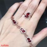 KJJEAXCMY boutique jewels 925 Pure <b>silver</b> inlaid with natural pomegranate stone women's bracelet ring <b>earrings</b> 2 pieces of jewel