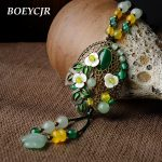 BOEYCJR Ethnic Colorful Natural Stone Necklace <b>Handmade</b> Fashion <b>Jewelry</b> Rope Chain Vintage Pendant Necklace for Women 2018